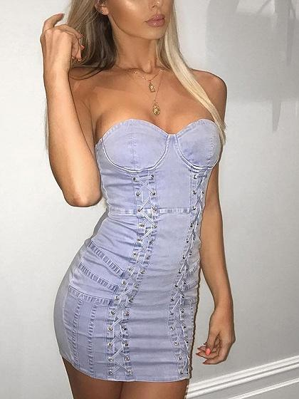 Blue Bandeau Lace Up Front Bodycon Denim Mini Dress