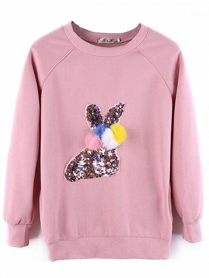 Pink Cartoon Sequin Pom Pom Detail Fleece Sweatshirt