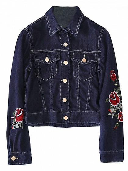 Dark Blue Floral Patch Detail Denim Jacket