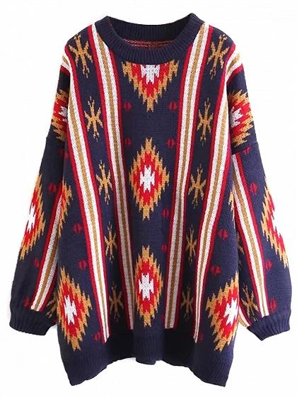 Color Block Geo Pattern Long Sleeve Knit Sweater