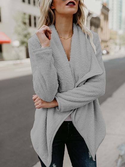Gray Lapel Fluffy Long Sleeve Coat