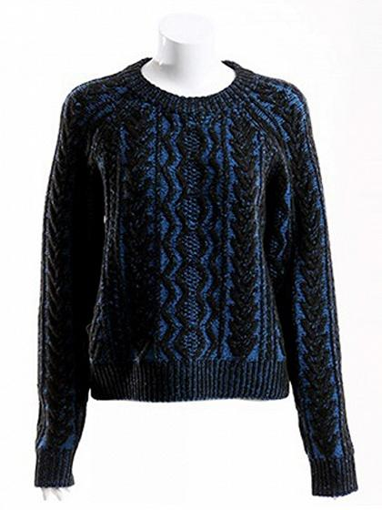 Dark Blue Long Sleeve Chunky Knit Sweater