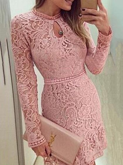 Pink Cut Out Detail Long Sleeve Lace Mini Dress