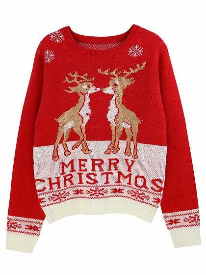 Red Christmas Deer Letter Pattern Knit Sweater