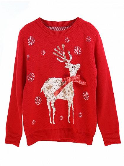 Red Christmas Deer Pattern Knit Sweater