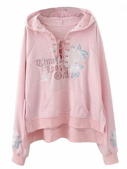 Pink Lace Up Front Embroidery Rose Pouch Pocket Hoodie