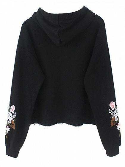 Black Drawstring Embroidery Detail Long Sleeve Hoodie