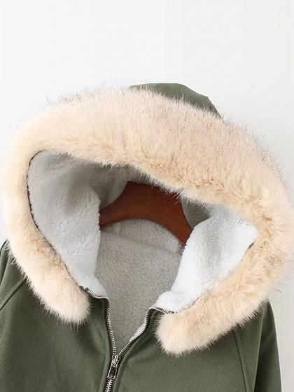 Green Faux Shearling Lining Hooded Coat