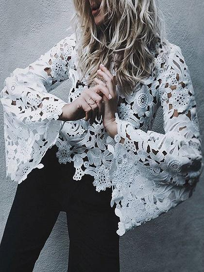 White Cut Out Detail Flare Sleeve Lace Blouse