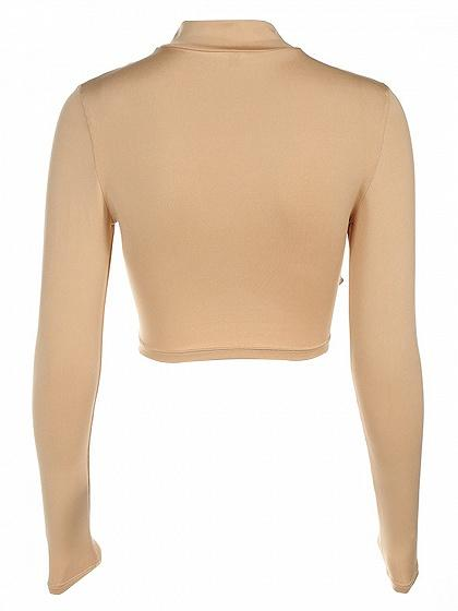 Khaki High Neck Cross Front Cut Out Detail Crop Top