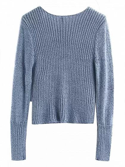 Blue V-neck Cross Wrap Long Sleeve Knit Sweater