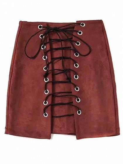 Burgundy Faux Suede High Waist Lace Up Front Pencil Mini Skirt