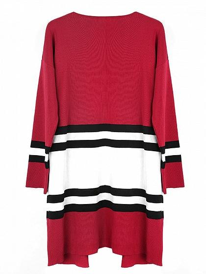 Red Contrast Stripe Open Front Cardigan