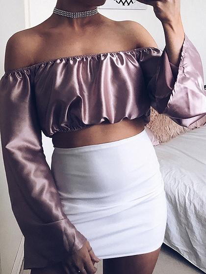 5572624e5d Purple Satin Look Off Shoulder Tie Front Long Sleeve Crop Top ...