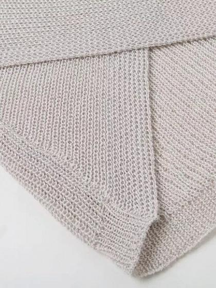 Beige Cross Wrap Front Knit Sweater