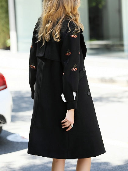 Black Lapel Tie Waist Embroidery Puff Sleeve Wool Longline Coat