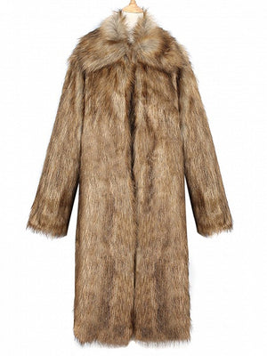 Brown Lapel Longline Faux Fur Coat