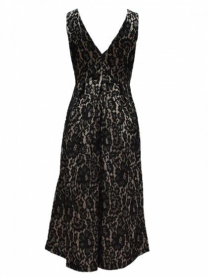 Black V-neck Sleeveless Dipped Hem Lace Midi Dress