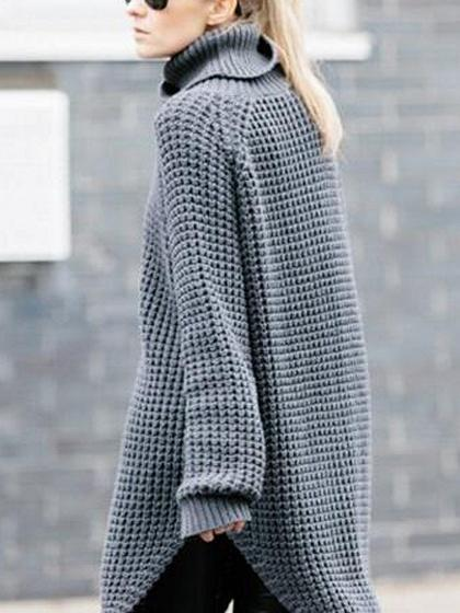 Gray High Neck Chunky Longline Sweater