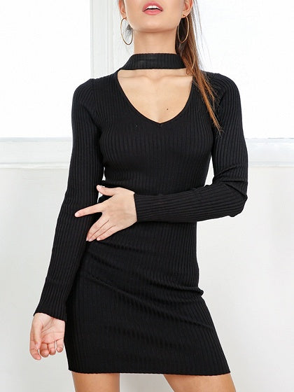 Black Choker V-neck Long Sleeve Ribbed Bodycon Mini Dress