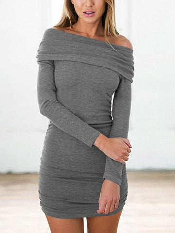 Gray Off Shoulder Ruched Detail Long Sleeve Mini Dress