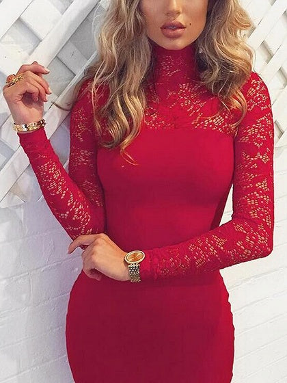 bc5a82e42379 Red High Neck Lace Panel Long Sleeve Bodycon Midi Dress – chiclookcloset