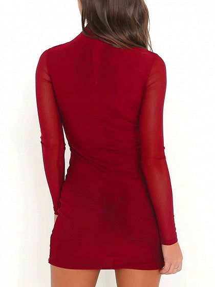 Burgundy High Neck Mesh Sleeve Bodycon Mini Dress