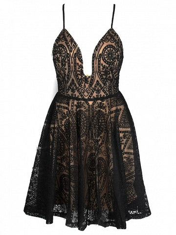 Black Spaghetti Strap Plunge Open Back Lace Dress