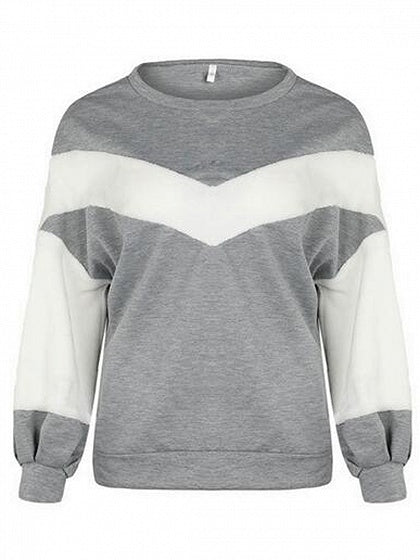 Gray Chevron Long Sleeve Sweatshirt