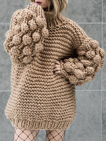 Brown High Neck Puff Sleeve Chunky Knit Sweater