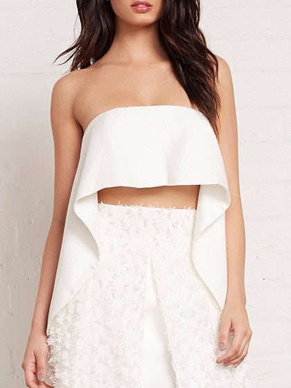 White Bandeau Asymmetric Hem Crop Top