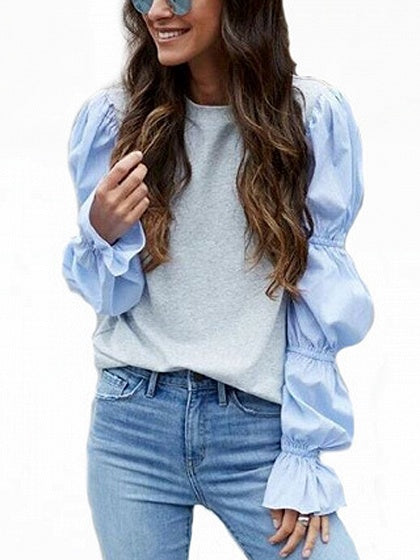 Gray Contrast Puff Sleeve Blouse