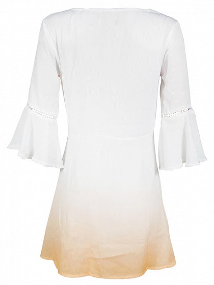 White Dip Dye Plunge Cut Out Tie Front Flare Sleeve Mini Dress