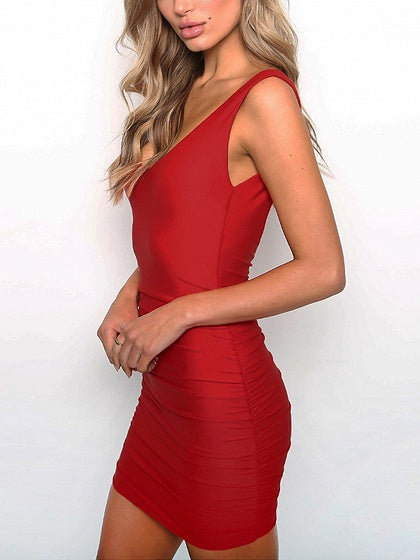 Red Plunge Open Back Ruched Detail Bodycon Mini Dress