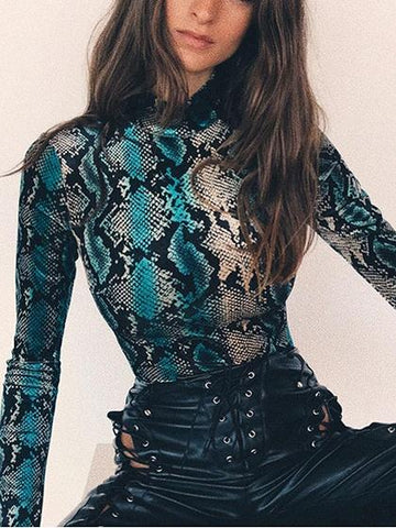 Green Snakeskin Print Long Sleeve Bodysuit