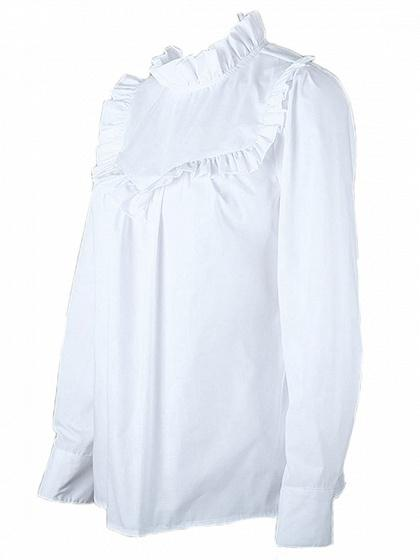 White Stand Collar Ruffle Trim Long Sleeve Blouse