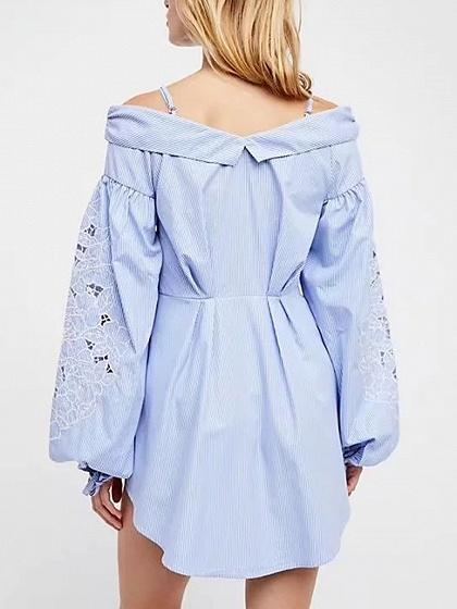 Blue Stripe Off Shoulder Lace Panel Long Sleeve Cami Dress