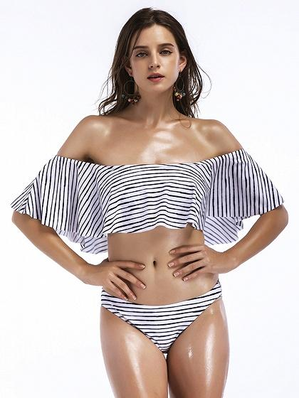 Monochrome Stripe Off Shoulder Ruffle Trim Bikini Top And Bottom