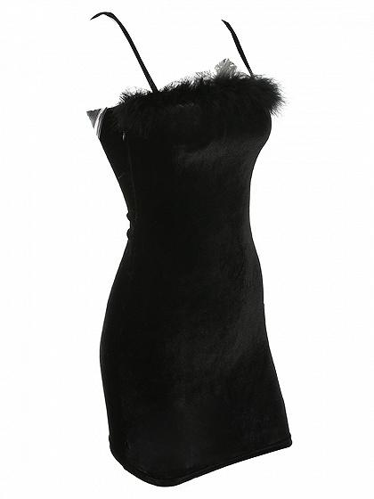 Black Velvet Spaghetti Strap Fluffy Trim Mini Dress