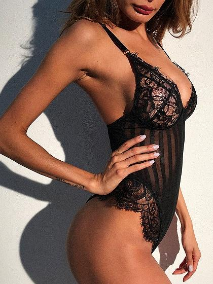 Black Lace Panel Open Back Sheer Mesh Bodysuit