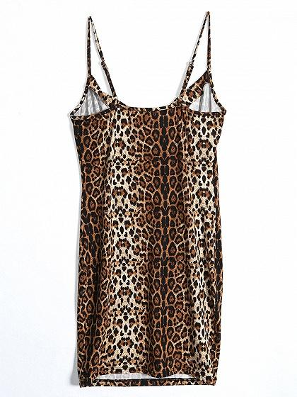 Brown Spaghetti Strap Leopard Print Mini Dress