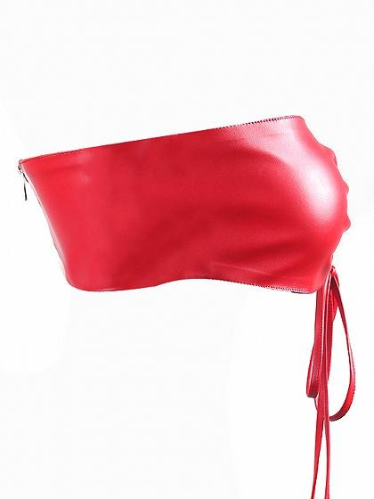 Red Off Shoulder Bow Tie Front Leather Look Bralet