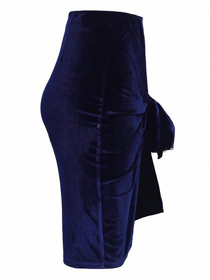 Blue Velvet High Waist Knot Detail Skirt