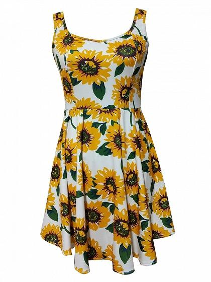 Polychrome Sunflower Print Sleeveless Mini Dress