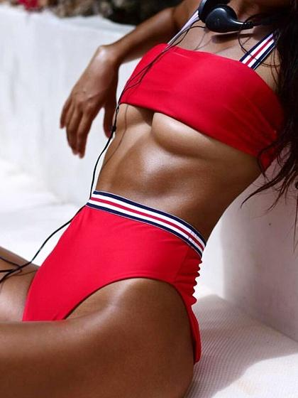 Red Ribbon Bikini Top And High Waist Bottom