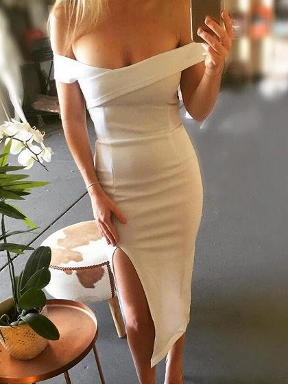 White Off Shoulder Thigh Split Midi Dress