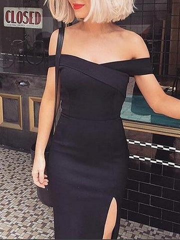 Black Off Shoulder Thigh Split Midi Dress