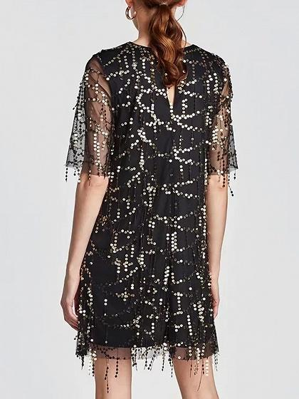 Black Sequin Detail Mesh Panel Mini Dress