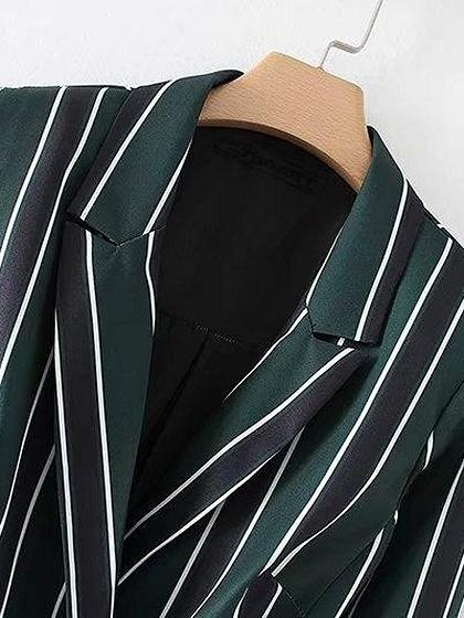 Green Stripe Lapel D-ring Belt Long Sleeve Romper Playsuit