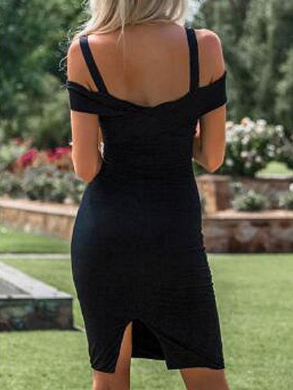 Black Cold Shoulder Back Split Bodycon Mini Dress